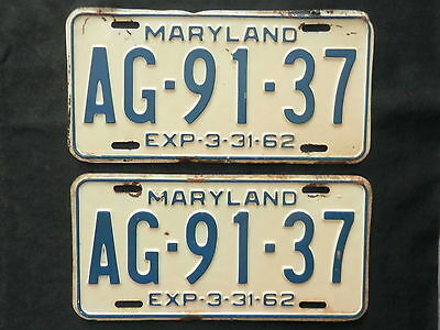 1962  Maryland License Plates    AG-91-37