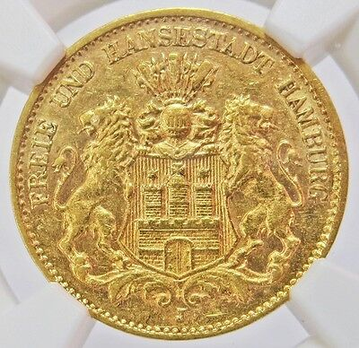 1905 J Gold German States Hamburg 10 Mark Coin Ngc About Uncirculated 58