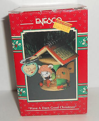 Vtg Enesco HAVE A DARN GOOD CHRISTMAS Mouse Sewing 1993 Ornament in Box 594229