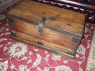 Antique Iron Bound Pine Box, Chest, Trunk. Strong Box.