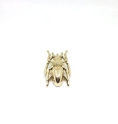 Old Gold Beetle Brooch Pin Antique Look Badge Accessory UK Seller Free Post