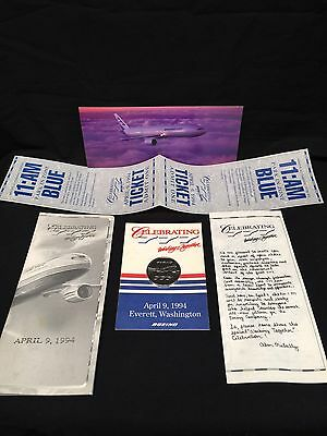Boeing 777 Ceremonial Rollout Invitation And Tickets For Two With Collector Coin