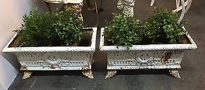Pair Of Vintage CAST IRON Regency Garden URN PLANTERS Ornate Footed RECTANGLE