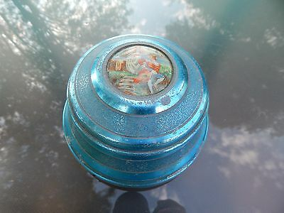 Vintage Blue Aluminum Music Box Victorian Picture Powder/Trinket Box Plays Well