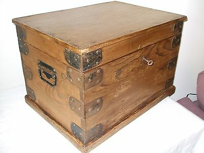 Antique Stripped Pine Box, Trunk,Chest with Iron Bound Corners.