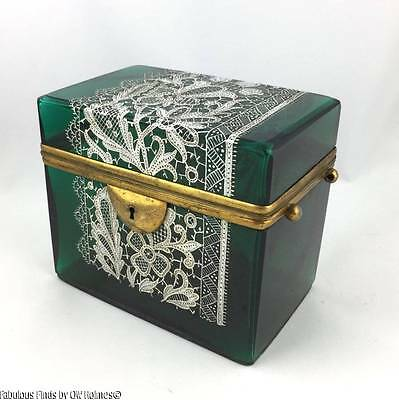 Antique Venetian PAGLIARIN & FRANCO LACE Glass Dresser Box Salviati Era