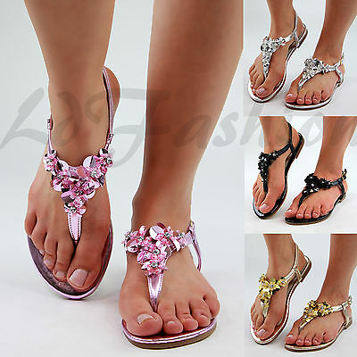 New Womens Flat Sandals Toe Post Ankle Strap Flower Embellished Shoes Sizes