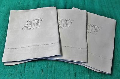 3 Fabulous Antique Linen Damask Bath Towels A N W Monogram Shamrock Millmarks
