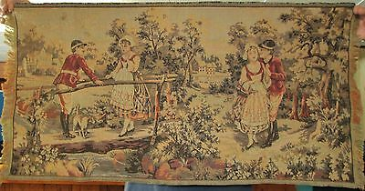 Antique Italian Tapestry Cuirassiers Courting Maids Napoleonic Era Country Scene