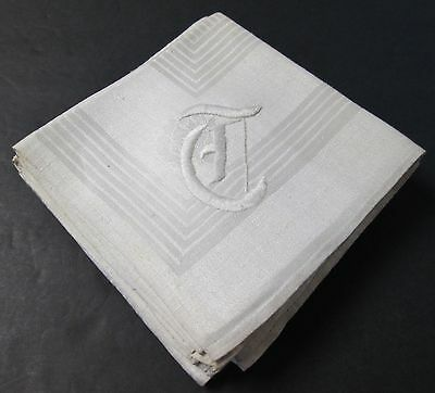 Antique Linen Damask 6 Napkins T Monogram Stripes & Florals Hand Hemmed