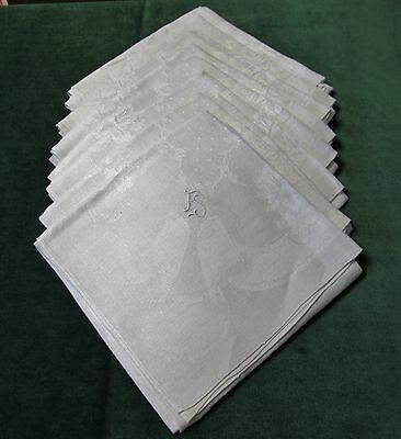 Antique 8 Linen Damask Lapkins F S Monograms ROSES & RIBBONS Beautiful!