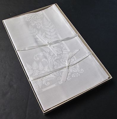 Antique Irish Linen Damask 8 Dinner Napkins Ferns & Roses Never Used in Box
