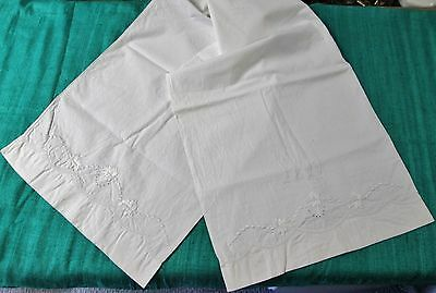 Antique Double Pillow Case HN Monogram Embroidered Leaves and Hemstitching