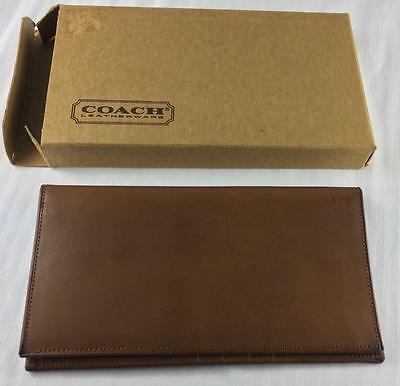 Quality Coach Leather Buffalo Buff Tan Checkbook Wallet Card Holder In Box Nwot