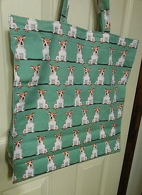 "JACK RUSSELL TERRIER NWT SHOPPER BAG 100% COTTON 16Wx17Tx4"" BOTTOM & SIDES. CUTE"