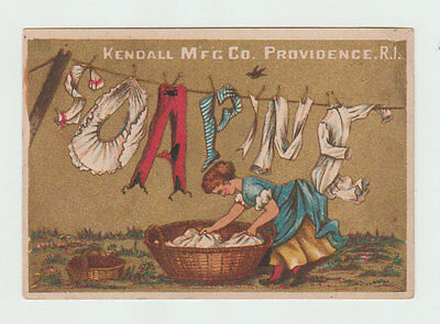 Victorian Trade Card, Soapine, Clothesline