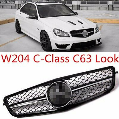New Mercedes Benz C Class W204 C63 Style Sports Amg Front Grill & Badge 07-2013