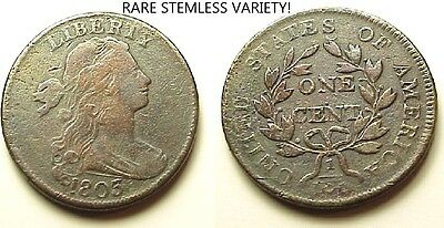 Fine/vf 1803 Draped Bust Large Cent-Rare Stemless Variety!- Free Shipping!