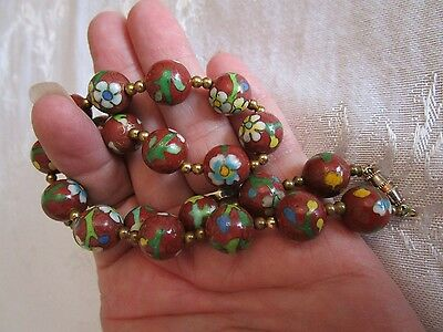 Antique Chinese Qing Dynasty Red Cloisonne Bead Necklace
