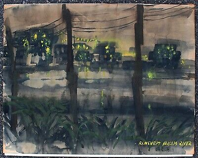 30s40s WPA REGIONALISM HARLEM RIVER NEW YORK NOCTURNE PAINTING ASHCAN SIGNED