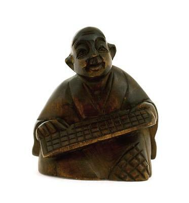 Old Japanese Wood Carved Carving Netsuke Figure Figurine Holding Abacus