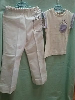 Vintage girl pants shirt blouse ROSEBUD DUDS 1950 60s clothing size 5 to 6