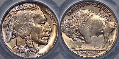 United States of America, 1938 Denver Buffalo Nickel or Five Cent - PCGS MS66