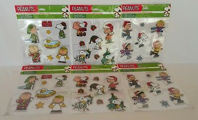 LOT 6 Peanuts Christmas Holiday Window Clings Snoopy Charlie Brown Woodstock NEW