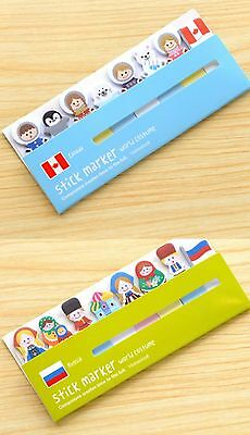 Cute Post it Stick Marker Note Sticker Stationery - Canada & Russia (2packs)