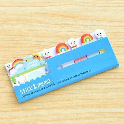 Cute Post it Stick & Memo Note Pad Marker Stationery - Rainbow (1pack)