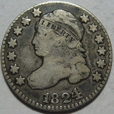 = 1824/2 BUST Dime, Nice Color & EYE Appeal, FREE Shipping