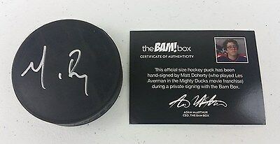 Mighty Ducks Official Signed Hockey Puck by Matt Doherty Collectable COA A6