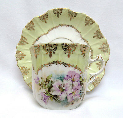 Antique Porcelain Mustache Cup & Saucer ~ Lavender Lily Flowers w/ Gilt Trim