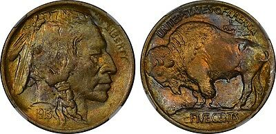 Nice colorfully toned 1913 Ty 1 Buffalo Nickel NGC MS-62