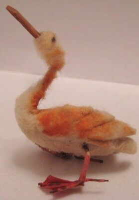 Old Miniature Cotton Pelican Bird w/ wire legs for Christmas Putz Village