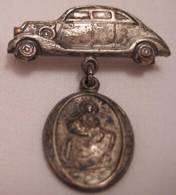 Old Unusual Religious St Christopher Pin w/ Car Sedan - If Accident Call Priest