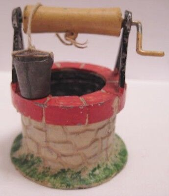Old French Garden Lead Wishing Well for Christmas Putz Village or Dollhouse