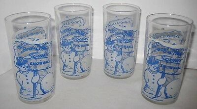 Set of 4 Old 1949 Squirt Soda Advertising Drinking Glass w/ Christmas Snowman