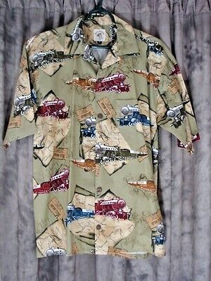 Trains Railroad Locomotives MAX BOXER Mens Casual Shirt Sz Small USA Made