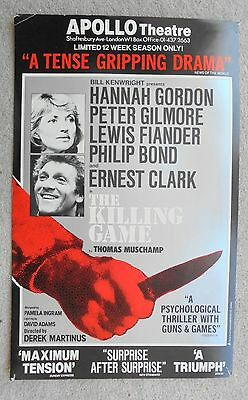 1981 THE KILLING GAME poster at APOLLO THEATRE with HANNAH GORDON, PETER GILMORE