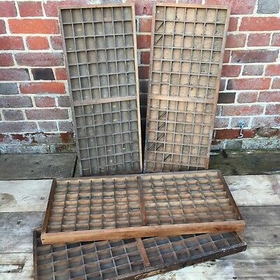 Industrial Vintage Antique French Wooden Letterpress Drawers