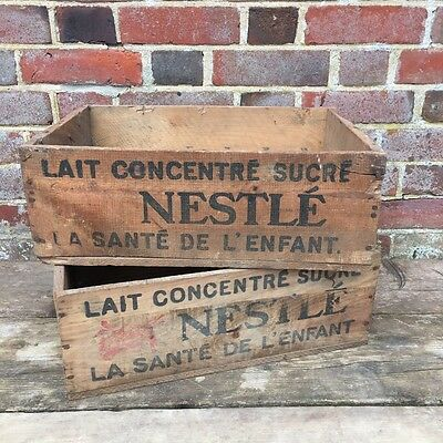 Industrial Vintage French Wooden Nestle Advertising Crate Box Logs Storage