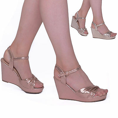 Ladies Womens High Heel Wedge Satin Evening Party Ankle Strap Sandals Prom Shoes