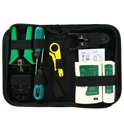 Network Ethernet LAN Kit RJ45 Cat5e Cat6 Cable Tester Crimper Crimping Tools