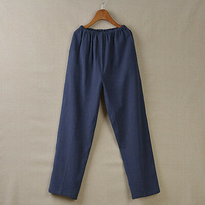 Chinese Martial Arts Mens Cotton and Linen Casual Trousers Tang Suit Pants