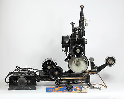 PATHE BABY HAND OPERATED 9.5mm SILENT FILM PROJECTOR W/ LAMP, MOTOR & CAMERA