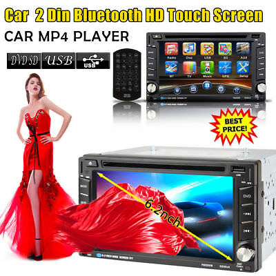 "6.2"" 2 Din HD Car DVD/CD/USB/SD Player Coche Reproductor Bluetooth Radio"