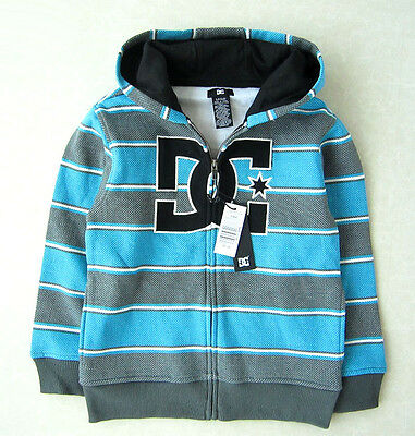 DC SHOES Boys Kids blue zip through hoodies jumper jacket with logs size 5T-12T