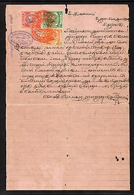 1937 Small Revenue Document with Straits 2c, 4c & 25c with Red Embossed Penang.