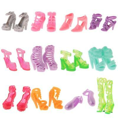 12 Pairs Party Daily Wear Dress Clothes Match Shoes Sandal For Barbie Doll